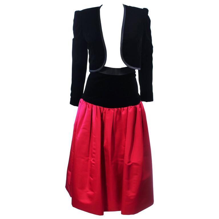 ADOLFO Black and Red Silk & Velvet Evening Ensemble Size 4