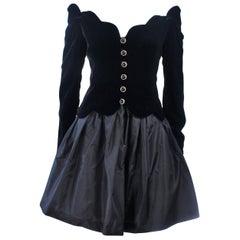 BELVILLE SASSON Velvet Skirt Evening Ensemble Off Shoulder Scallop Size 10