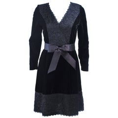 GIVENCHY Black Velvet Cocktail Dress with Lace Trim and Satin Belt Size 4