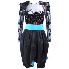 PAUL LOUIS ORRIER Black Silk Beaded Cocktail Dress with Turquoise Belt Size 6 8