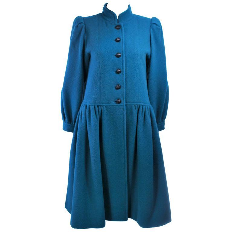 YVES SAINT LAURENT Turquoise Wool Coat Size 6