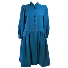 YVES SAINT LAURENT Turquoise Wool Coat Size 6