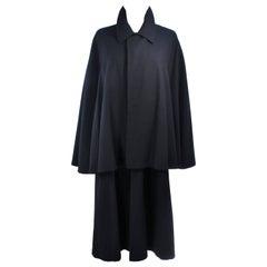 Vintage 1960's Black Wool Cape Size 6 8
