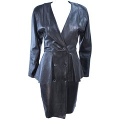 VAKKO Black Leather Dress with Peplum Size 8