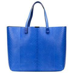 2015 Victoria Beckham Peacock Blue Python Simple Shopper
