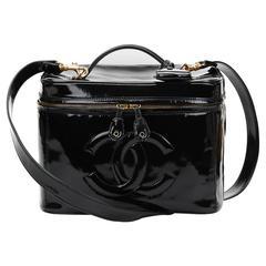 1990's Chanel Black Patent Leather Vintage Vanity Bag