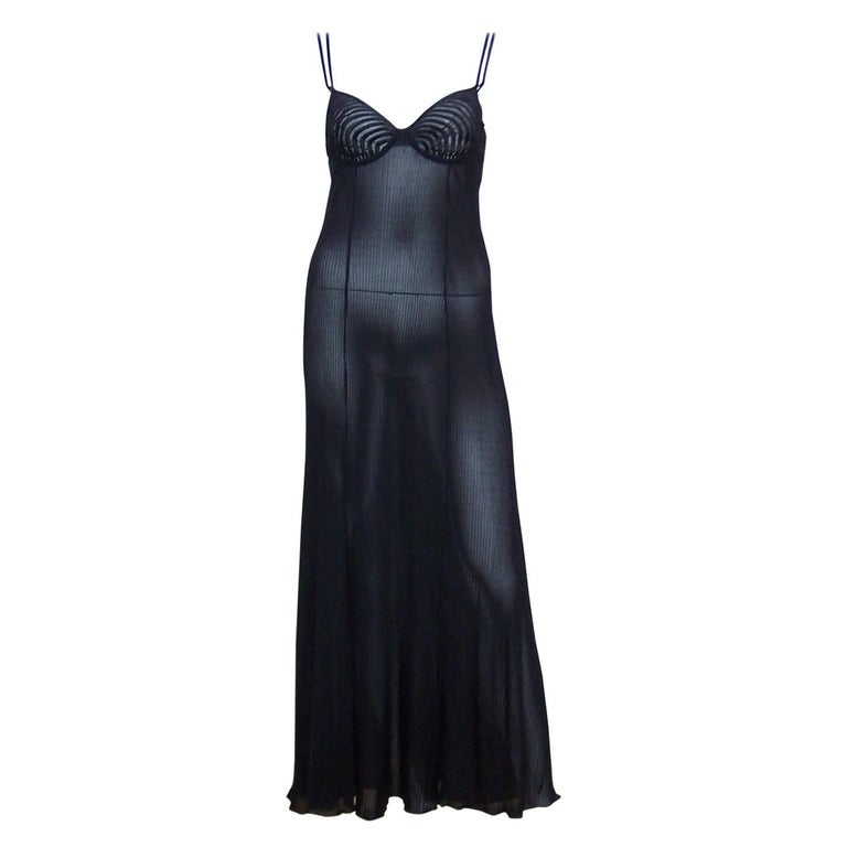 Seductive 1990's Hanro of Switzerland Black Negligee Dressing Gown