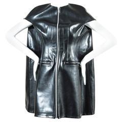 Junya Watanabe Comme Des Garcons Black Faux Leather Oversized Zip Dress SZ S