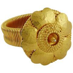 Celine Vintage 1988 Gold Toned Camellia Bracelet
