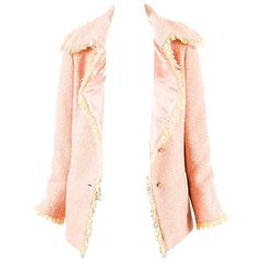 Chanel 01A Pink & Yellow Wool Tweed Fringe Trim 'COCO' Button Jacket Size 38
