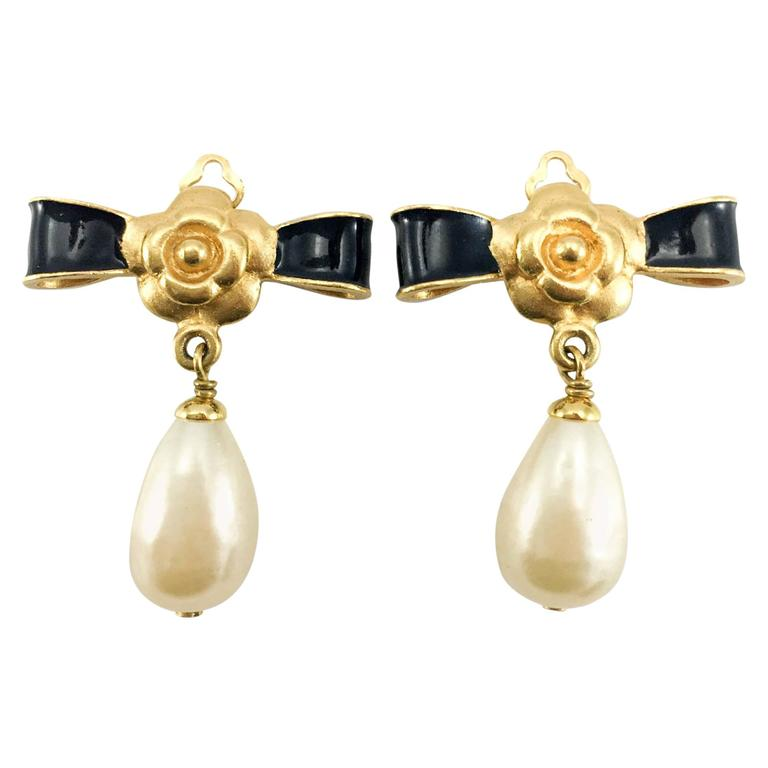 Chanel Gold-Plated Camellia, Enameled Black Bow and Pearl Drop Earrings - 1993 1