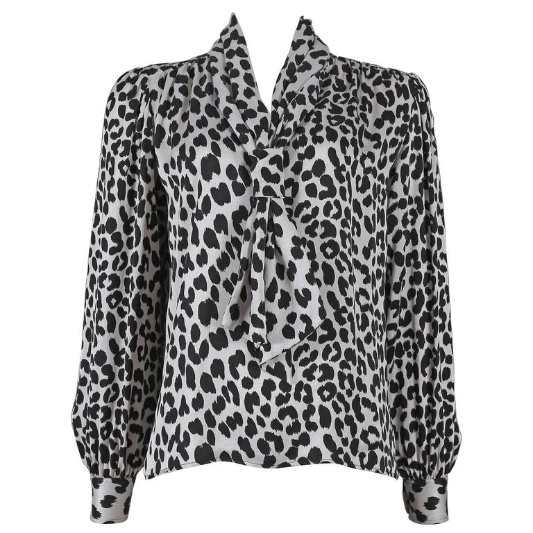 Yves Saint Laurent leopard print pussy bow silk blouse, circa 1970s For Sale