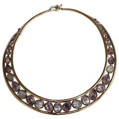 Goossens Paris Fluorine and Grey Gold Collar Necklace