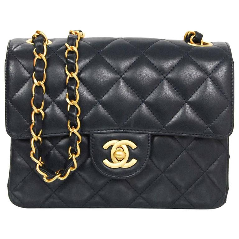 Chanel Navy Lambskin Quilted Square Mini Flap Crossbody Bag For