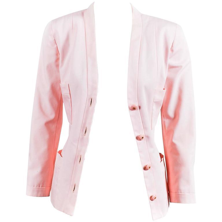 Chanel Light Pink Poplin Button Up Tailored Long Sleeve Blazer Jacket 1