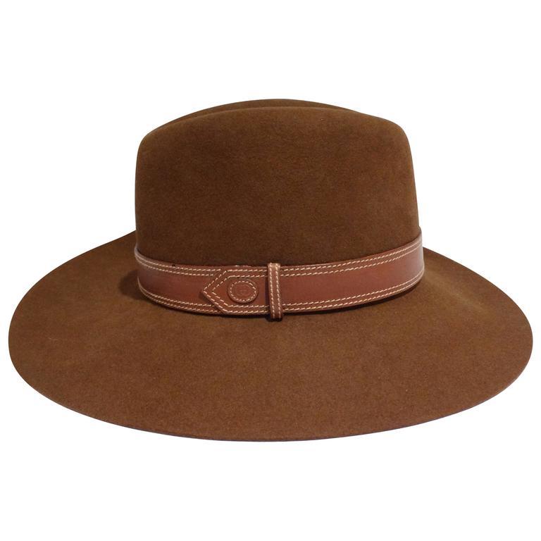 Rare 1970s Gucci G Tobacco Felt Wide Brim Hat  For Sale