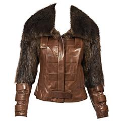 Brown Gucci Fur-Trimmed Leather Jacket