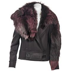 Dark Purple Gucci Fox Fur Trimmed Jacket