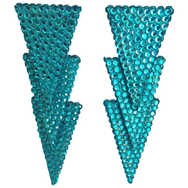 Vintage Richard Kerr Signed Turquoise Teal Blue Rhinestone 1980s Clip Earrings  1