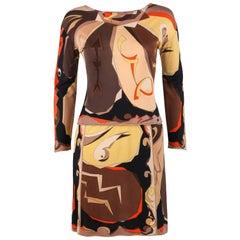 EMILIO PUCCI 1960s 2 Piece Brown Arrow Signature Print Silk Jersey Top Skirt Set
