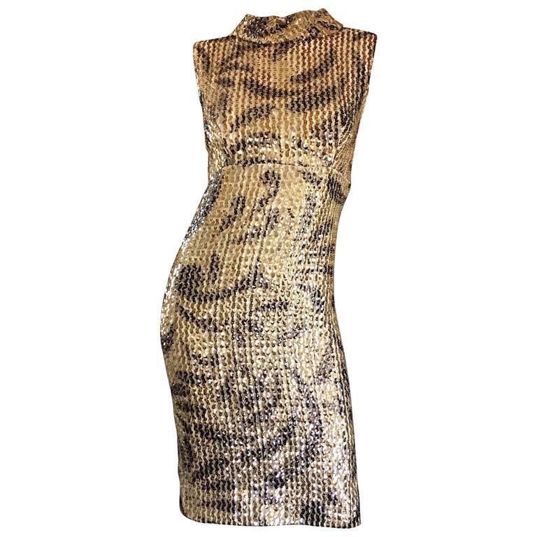 Elinor 1960s Vintage Gold Black Sequin 60s Retro Mod Wiggle Shift Dress For