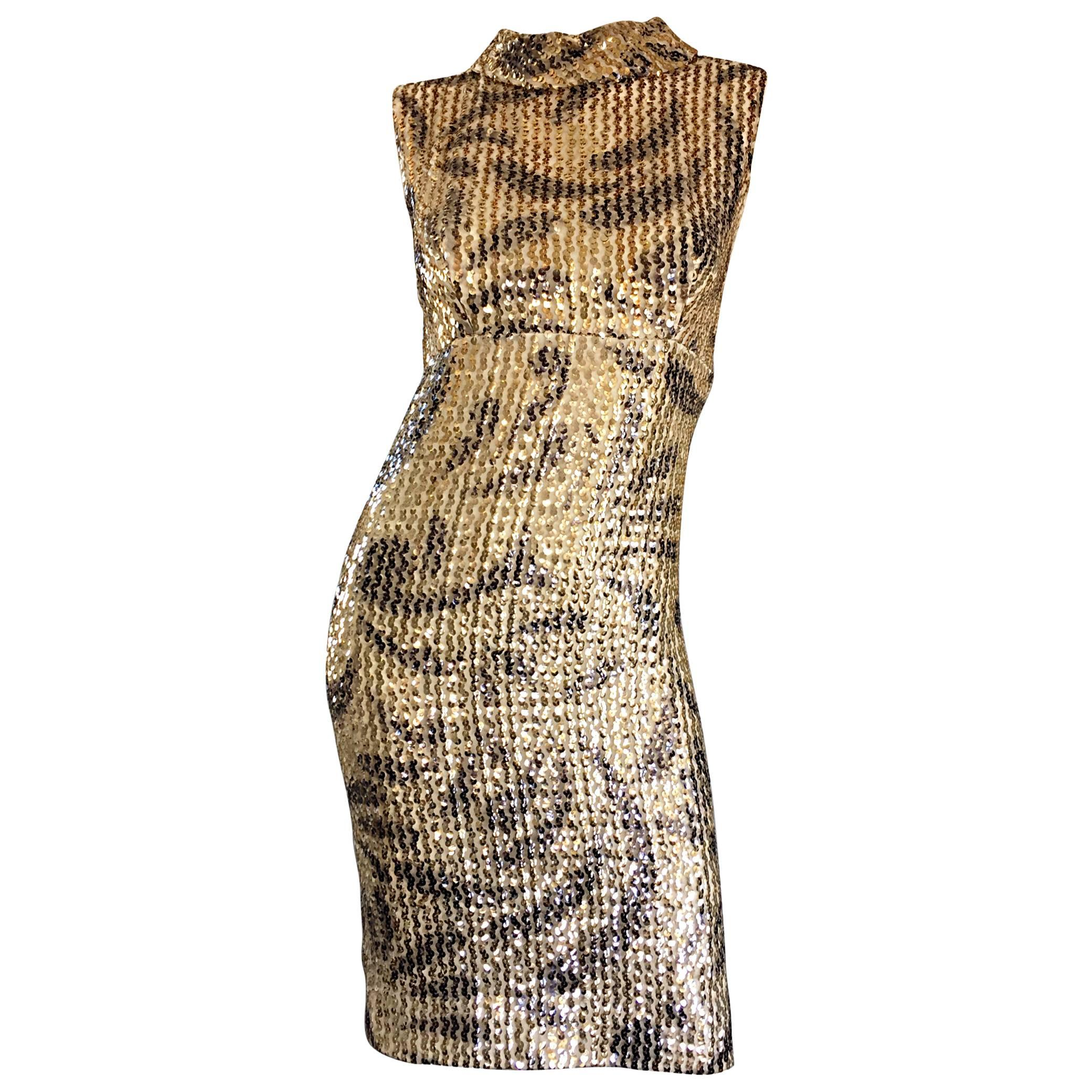 Elinor Gay 1960s Vintage Gold + Black Sequin 60s Retro Mod Wiggle Shift  Dress For Sale at 1stdibs a6e126140
