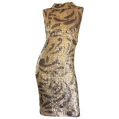 Elinor Gay 1960s Vintage Gold + Black Sequin 60s Retro Mod Wiggle Shift Dress