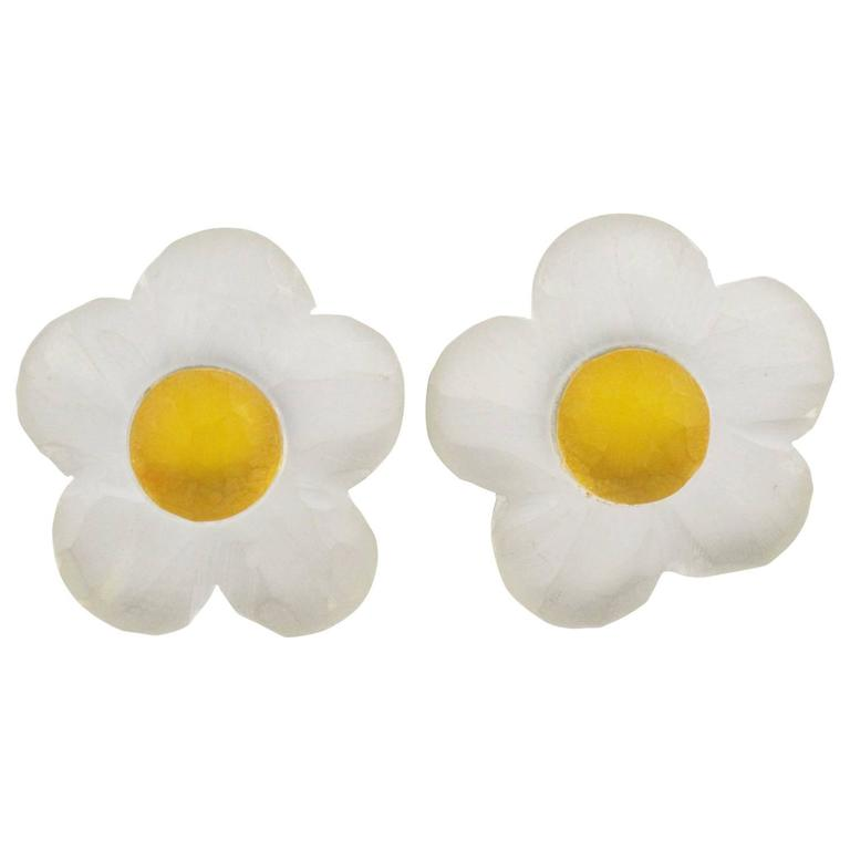 Oversized Carved Lucite Daisy Flower Clip Earrings by Harriet Bauknight for Kaso For Sale