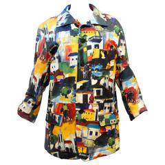 Rare 1992 Issey Miyake Hand painted Leather Jacket