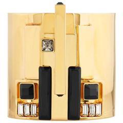 Gold Art Deco Cuff Bracelet by Emilio Pucci