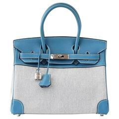 HERMES BIRKIN 30 Bag Toile Blue Jean Togo Leather  Palladium