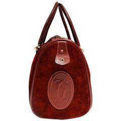 Cartier Les Must de Cartier Bordeaux Suede Leather Boston Hand Bag