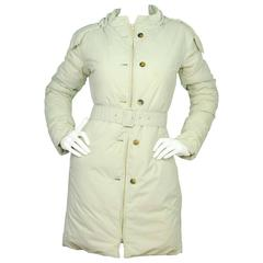 Jil Sander Beige Down Coat w/ Optional Hood Sz 36