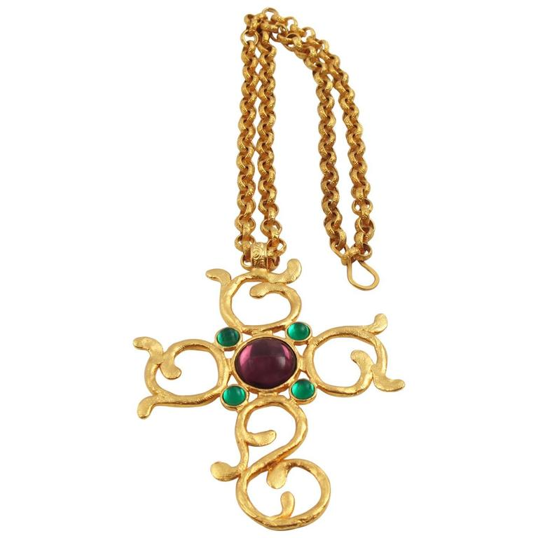 Carol Dauplaise Vintage Jeweled Cross Pendant Necklace For Sale