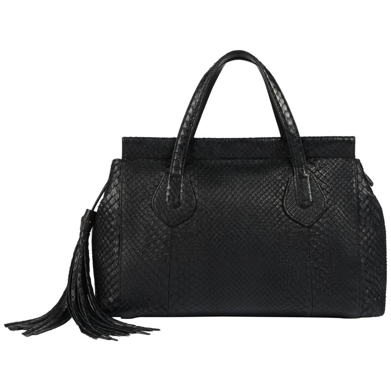 """GUCCI c.2015 """"Lady Tassel"""" Black Python Leather Bamboo Top Handle Tote Handbag For Sale"""