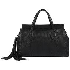 "GUCCI c.2015 ""Lady Tassel"" Black Python Leather Bamboo Top Handle Tote Handbag"