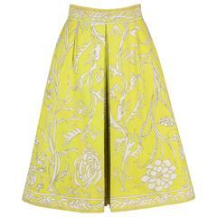 EMILIO PUCCI 1970s Chartreuse Floral Motif Print Cotton Pleated Skirt Size 8
