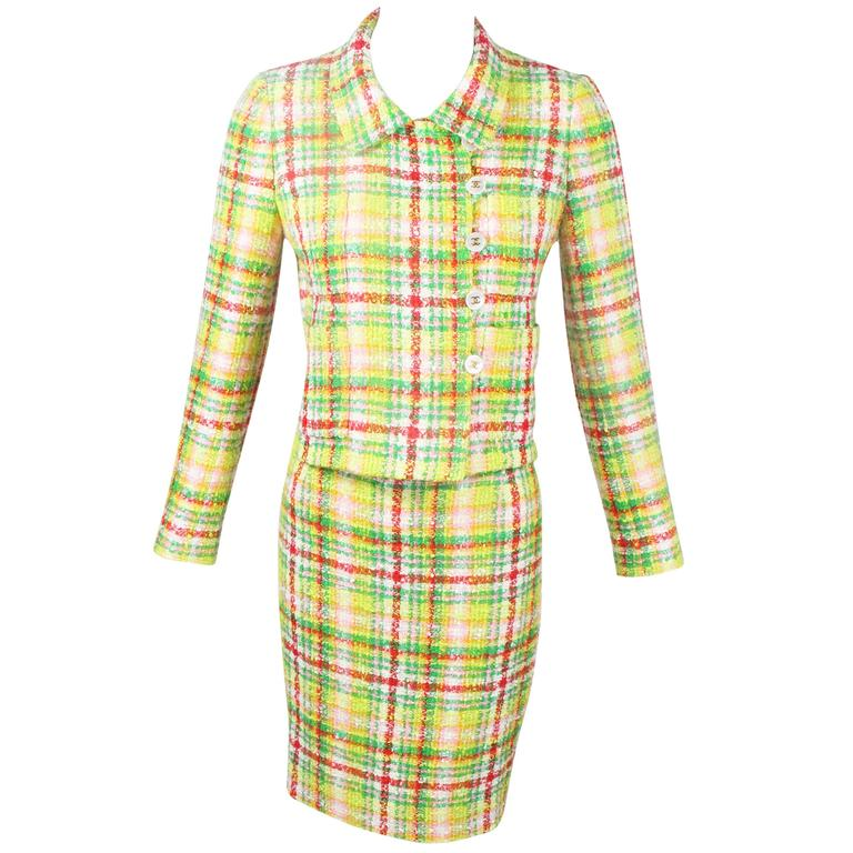 1990s Chanel Green Plaid Boucle Skirt Suit