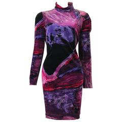 Rare Istante Velvet Colourful High Neck Dress Fall 1994