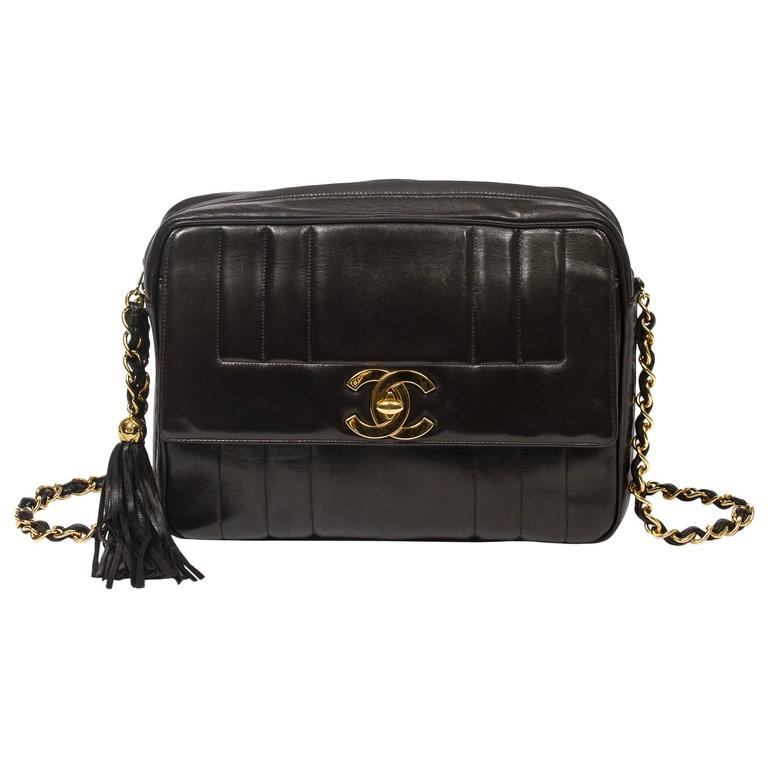 Chanel - Vintage Tassel Shoulder Bag Black Vertical Quilted Leather 1