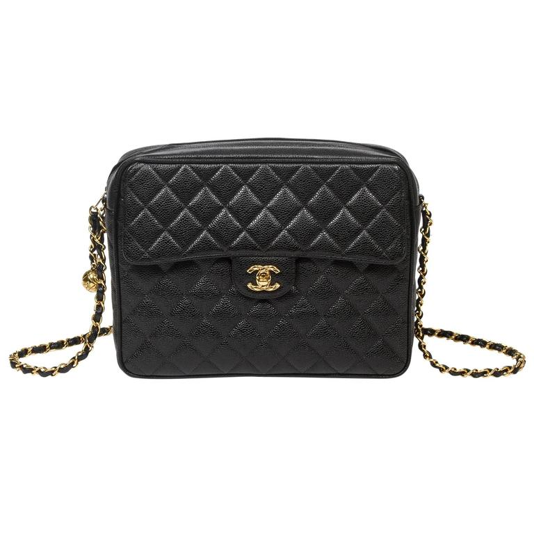 Chanel - Vintage Shoulder Bag Black Quilted Caviar 1