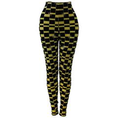 Rare Gianni Versace Couture Check Strech Velvet Leggings Fall 1994