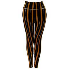 Rare Gianni Versace Couture Stripe Velvet Strech Leggings Fall 1994
