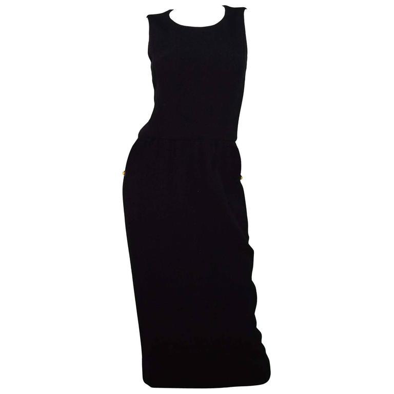 Chanel Black Sleeveless Long Dress sz 4 1