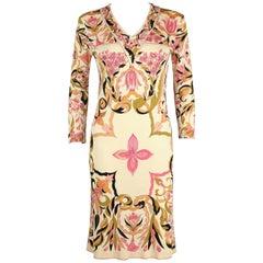 EMILIO PUCCI 1960's Pink Multicolor Kaleidoscope Floral Print Silk Sheath Dress