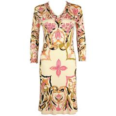 EMILIO PUCCI 1960s Pink Multicolor Kaleidoscope Floral Print Silk Sheath Dress