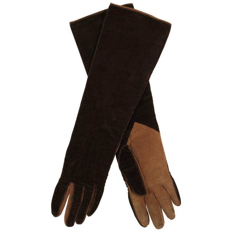 CHANEL 1930s Brown Velvet Suede Leather Elbow Length Flapper Gloves Size 7