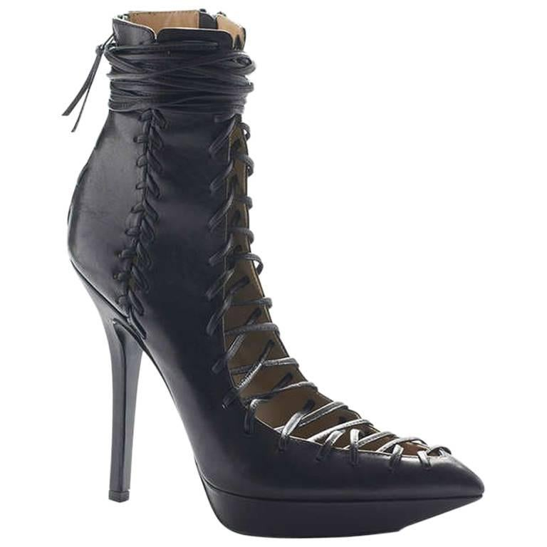 Versace Black Leather Lace-Up Boots