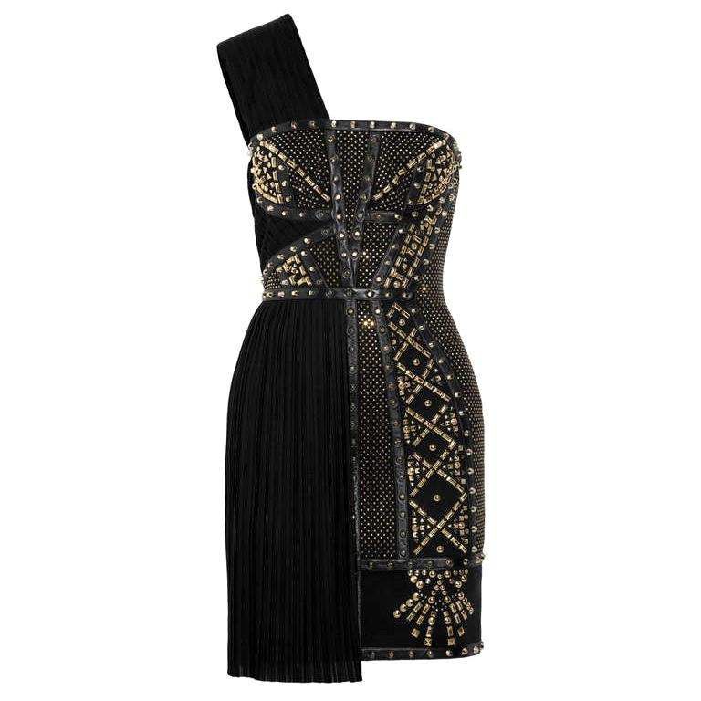 236bb99f VERSACE Black Leather-trimmed studded plissé and scuba-jersey dress