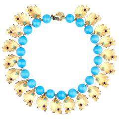 1960s Delillo Collar of Blue Beads and Gold Tone Leaves